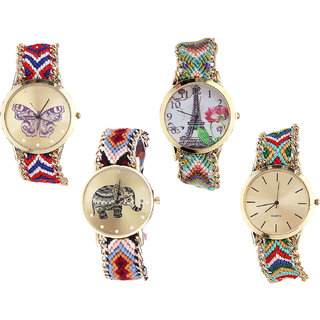 Neutron Latest Italian Designer Butterfly, Paris Eiffel Tower And Elephant Analogue Multi Color Color Girls And Women Watch - G134-G146-G162-G166 (Combo Of  4 )