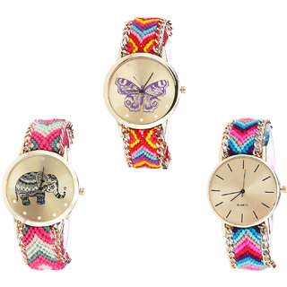 Neutron Classical Luxury Butterfly And Elephant Analogue Multi Color Color Girls And Women Watch - G131-G163-G164 (Combo Of  3 )
