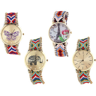 Neutron Best Collection Butterfly, Paris Eiffel Tower And Elephant Analogue Multi Color Color Girls And Women Watch - G134-G151-G156-G166 (Combo Of  4 )