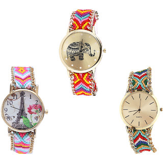 Neutron Classical Designer Elephant And Paris Eiffel Tower Analogue Multi Color Color Girls And Women Watch - G155-G310-G166 (Combo Of  3 )