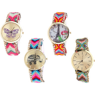 Neutron Modern Love Butterfly, Paris Eiffel Tower And Elephant Analogue Multi Color Color Girls And Women Watch - G139-G144-G154-G167 (Combo Of  4 )