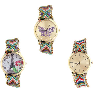 Neutron Latest Luxury Butterfly And Paris Eiffel Tower Analogue Multi Color Color Girls And Women Watch - G133-G146-G166 (Combo Of  3 )