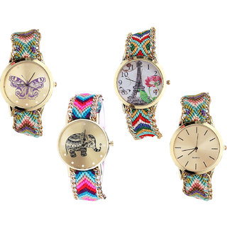 Neutron Contemporary Love Butterfly, Paris Eiffel Tower And Elephant Analogue Multi Color Color Girls And Women Watch - G133-G145-G154-G167 (Combo Of  4 )