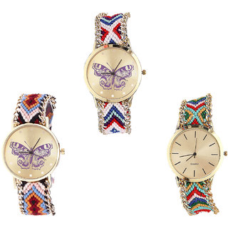 Neutron Best Stylish Butterfly Analogue Multi Color Color Girls And Women Watch - G135-G138-G166 (Combo Of  3 )