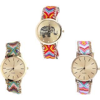 Neutron Classical High Quality Elephant Analogue Multi Color Color Girls And Women Watch - G155-G167-G319 (Combo Of  3 )