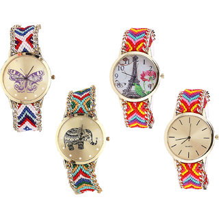 Neutron Contemporary Royal Butterfly, Paris Eiffel Tower And Elephant Analogue Multi Color Color Girls And Women Watch - G135-G144-G156-G165 (Combo Of  4 )