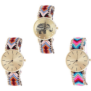 Neutron Brand New Exclusive Elephant Analogue Multi Color Color Girls And Women Watch - G162-G316-G164 (Combo Of  3 )