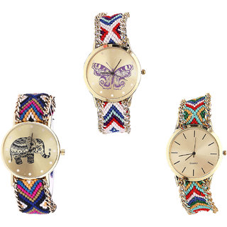 Neutron New Fashion Butterfly And Elephant Analogue Multi Color Color Girls And Women Watch - G135-G311-G166 (Combo Of  3 )