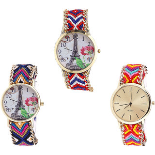 Neutron Classical Collegian Paris Eiffel Tower Analogue Multi Color Color Girls And Women Watch - G147-G153-G165 (Combo Of  3 )