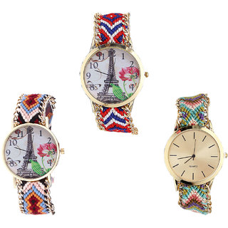 Neutron Brand New Collegian Paris Eiffel Tower Analogue Multi Color Color Girls And Women Watch - G147-G151-G167 (Combo Of  3 )