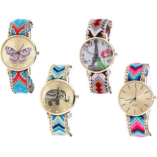 Neutron Modern Valentine Butterfly, Paris Eiffel Tower And Elephant Analogue Multi Color Color Girls And Women Watch - G137-G151-G160-G164 (Combo Of  4 )