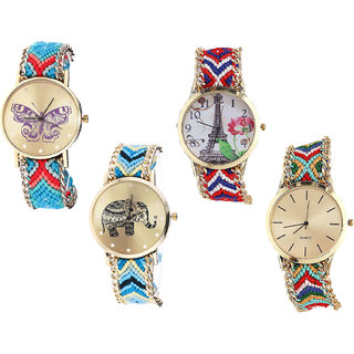 Neutron Treading Valentine Butterfly, Paris Eiffel Tower And Elephant Analogue Multi Color Color Girls And Women Watch - G137-G147-G160-G166 (Combo Of  4 )