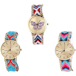 Neutron Modern Luxury Butterfly Analogue Multi Color Color Girls And Women Watch - G135-G315-G164 (Combo Of  3 )