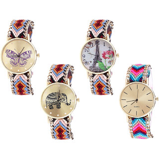 Neutron Brand New Professional Butterfly, Paris Eiffel Tower And Elephant Analogue Multi Color Color Girls And Women Watch - G138-G151-G162-G164 (Combo Of  4 )