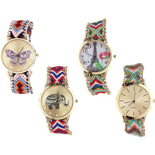 Neutron Classical Fancy Butterfly, Paris Eiffel Tower And Elephant Analogue Multi Color Color Girls And Women Watch - G138-G145-G158-G167 (Combo Of  4 )