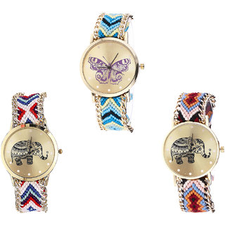 Neutron Latest Quartz Butterfly And Elephant Analogue Multi Color Color Girls And Women Watch - G136-G159-G162 (Combo Of  3 )