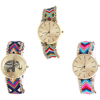 Neutron Contemporary Diwali Elephant Analogue Multi Color Color Girls And Women Watch - G166-G311-G164 (Combo Of  3 )