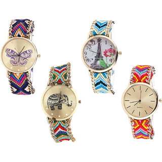 Neutron Best Collection Butterfly, Paris Eiffel Tower And Elephant Analogue Multi Color Color Girls And Women Watch - G140-G149-G156-G165 (Combo Of  4 )