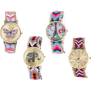 Neutron Modern Professional Butterfly, Paris Eiffel Tower And Elephant Analogue Multi Color Color Girls And Women Watch - G142-G143-G162-G168 (Combo Of  4 )