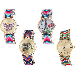 Neutron Treading High Quality Butterfly, Paris Eiffel Tower And Elephant Analogue Multi Color Color Girls And Women Watch - G130-G143-G311-G166 (Combo Of  4 )
