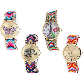 Neutron Classical High Quality Butterfly, Paris Eiffel Tower And Elephant Analogue Multi Color Color Girls And Women Watch - G130-G145-G311-G165 (Combo Of  4 )