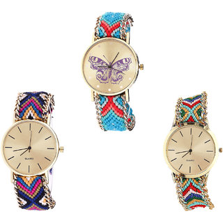 Neutron Treading Heart Butterfly Analogue Multi Color Color Girls And Women Watch - G137-G318-G166 (Combo Of  3 )