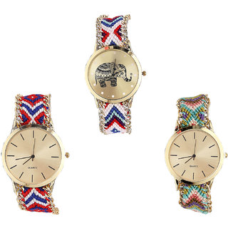 Neutron Modern Unique Elephant Analogue Multi Color Color Girls And Women Watch - G159-G168-G167 (Combo Of  3 )