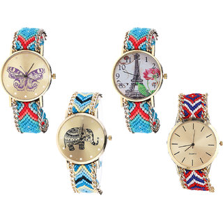 Neutron Treading Valentine Butterfly, Paris Eiffel Tower And Elephant Analogue Multi Color Color Girls And Women Watch - G137-G150-G160-G168 (Combo Of  4 )