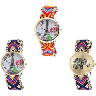 Neutron Latest Analogue Paris Eiffel Tower And Elephant Analogue Multi Color Color Girls And Women Watch - G144-G153-G311 (Combo Of  3 )