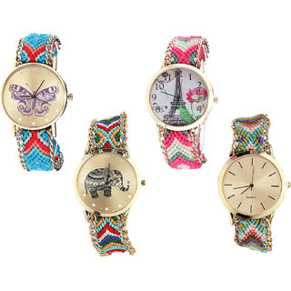 Neutron Classical Collection Butterfly, Paris Eiffel Tower And Elephant Analogue Multi Color Color Girls And Women Watch - G137-G152-G156-G167 (Combo Of  4 )