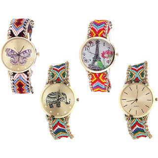 Neutron New Royal Butterfly, Paris Eiffel Tower And Elephant Analogue Multi Color Color Girls And Women Watch - G138-G144-G156-G166 (Combo Of  4 )