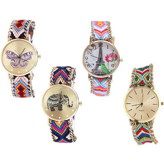 Neutron Brand New Branded Butterfly, Paris Eiffel Tower And Elephant Analogue Multi Color Color Girls And Women Watch - G138-G310-G311-G166 (Combo Of  4 )