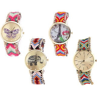 Neutron New Gift Butterfly, Paris Eiffel Tower And Elephant Analogue Multi Color Color Girls And Women Watch - G139-G144-G162-G166 (Combo Of  4 )