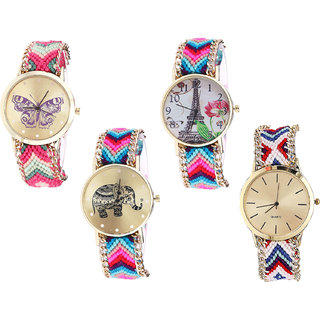 Neutron Contemporary Love Butterfly, Paris Eiffel Tower And Elephant Analogue Multi Color Color Girls And Women Watch - G139-G143-G154-G313 (Combo Of  4 )