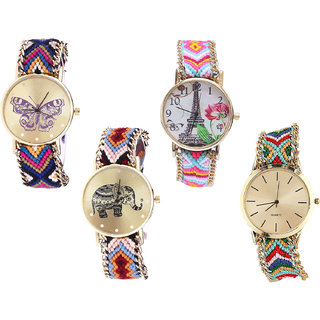 Neutron Brand New Italian Designer Butterfly, Paris Eiffel Tower And Elephant Analogue Multi Color Color Girls And Women Watch - G140-G310-G162-G166 (Combo Of  4 )