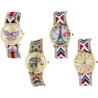 Neutron Classical Royal Butterfly, Paris Eiffel Tower And Elephant Analogue Multi Color Color Girls And Women Watch - G138-G148-G156-G313 (Combo Of  4 )
