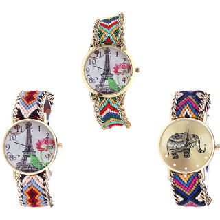 Neutron Treading Present Paris Eiffel Tower And Elephant Analogue Multi Color Color Girls And Women Watch - G145-G151-G311 (Combo Of  3 )