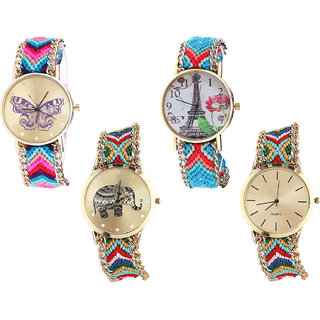Neutron Modern 3D Design Butterfly, Paris Eiffel Tower And Elephant Analogue Multi Color Color Girls And Women Watch - G130-G150-G156-G166 (Combo Of  4 )