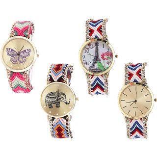 Neutron Classical Gift Butterfly, Paris Eiffel Tower And Elephant Analogue Multi Color Color Girls And Women Watch - G139-G148-G162-G313 (Combo Of  4 )