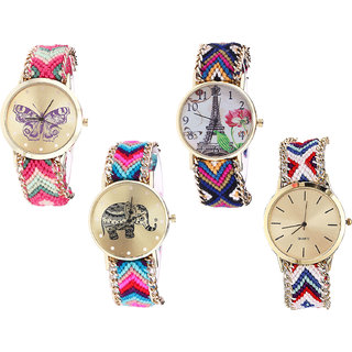 Neutron New Love Butterfly, Paris Eiffel Tower And Elephant Analogue Multi Color Color Girls And Women Watch - G139-G153-G154-G313 (Combo Of  4 )
