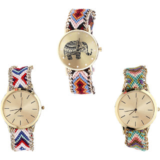 Neutron Brand New Exclusive Elephant Analogue Multi Color Color Girls And Women Watch - G162-G313-G167 (Combo Of  3 )