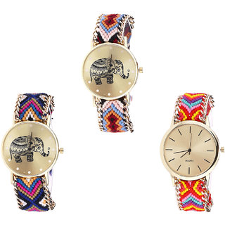 Neutron Classical Tread Elephant Analogue Multi Color Color Girls And Women Watch - G162-G311-G165 (Combo Of  3 )