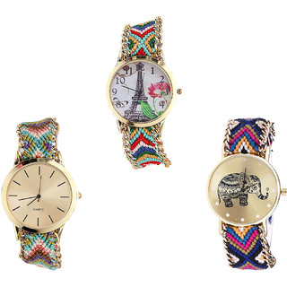 Neutron Modern Luxury Paris Eiffel Tower And Elephant Analogue Multi Color Color Girls And Women Watch - G145-G167-G311 (Combo Of  3 )