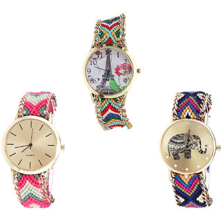 Neutron Modern Wrist  Paris Eiffel Tower And Elephant Analogue Multi Color Color Girls And Women Watch - G145-G317-G311 (Combo Of  3 )