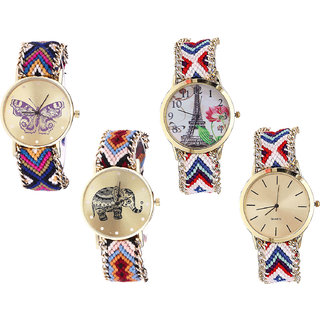 Neutron Classical Italian Designer Butterfly, Paris Eiffel Tower And Elephant Analogue Multi Color Color Girls And Women Watch - G140-G148-G162-G313 (Combo Of  4 )