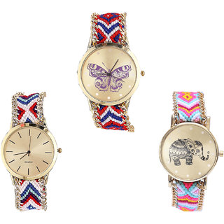 Neutron Contemporary Luxury Butterfly And Elephant Analogue Multi Color Color Girls And Women Watch - G134-G313-G312 (Combo Of  3 )
