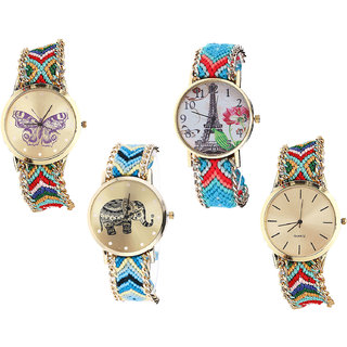 Neutron Brand New Style Butterfly, Paris Eiffel Tower And Elephant Analogue Multi Color Color Girls And Women Watch - G132-G150-G160-G166 (Combo Of  4 )