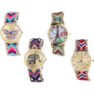 Neutron Treading High Quality Butterfly, Paris Eiffel Tower And Elephant Analogue Multi Color Color Girls And Women Watch - G130-G146-G311-G168 (Combo Of  4 )
