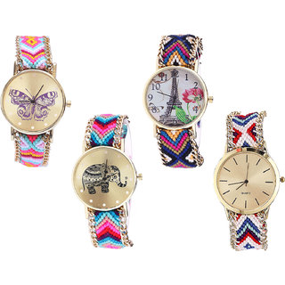 Neutron Latest Party Wedding Butterfly, Paris Eiffel Tower And Elephant Analogue Multi Color Color Girls And Women Watch - G142-G153-G154-G313 (Combo Of  4 )