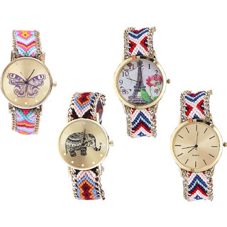 Neutron Best Professional Butterfly, Paris Eiffel Tower And Elephant Analogue Multi Color Color Girls And Women Watch - G142-G148-G162-G313 (Combo Of  4 )